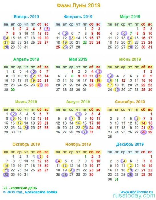 лунный календарь 2019 год