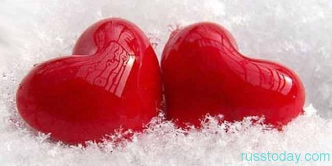 снег и сердечки