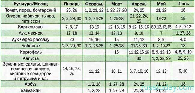 Календарь посадки рассады на 2018 год – таблица для Красноярска