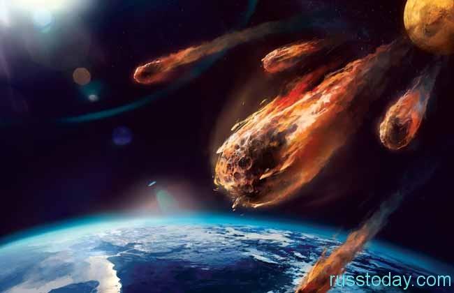 падение горящих метеоритов