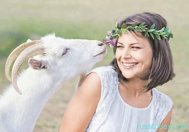Коза и девушка