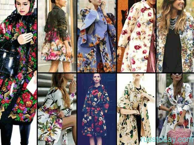 красивое пальто с цветочным принтом