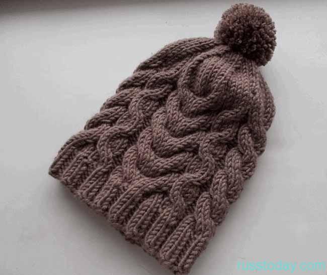 шапки с «узором из кос»