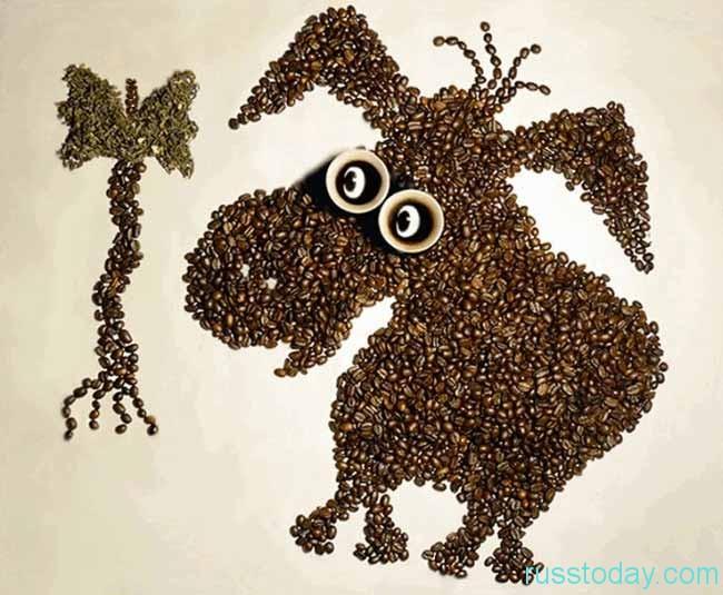 Из кофейных зерен