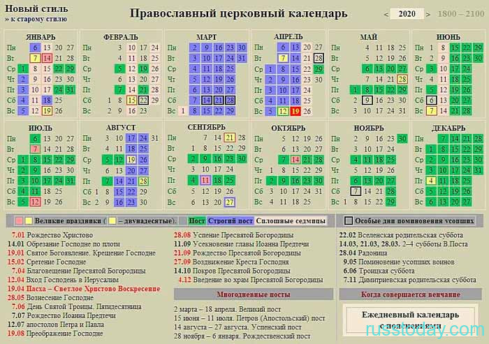 календарь 2020 православный
