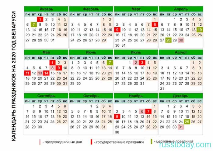 календарь для Беларуси 2020 года
