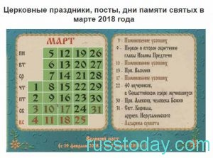 даты марта по календарю православия