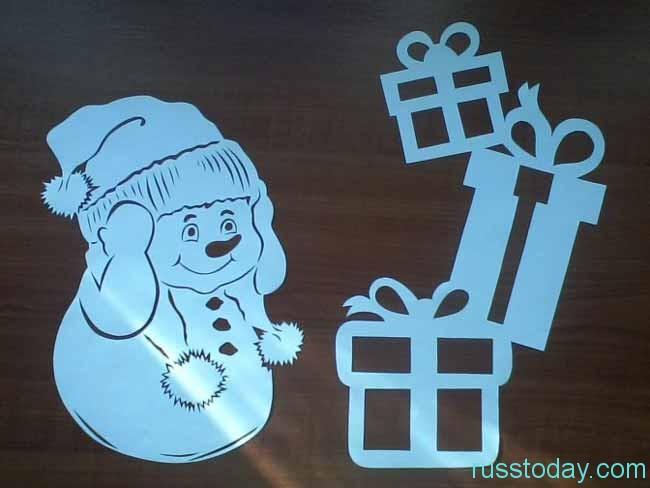 вытынанка-снеговичок