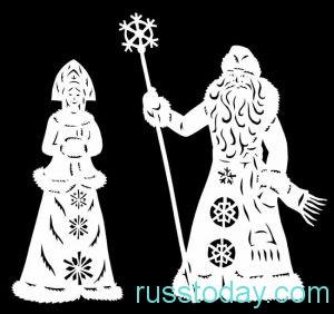 Красивая новогодняя вытынанка Снегурочки