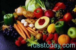 в меню включить полезные овощи, свежие фрукты