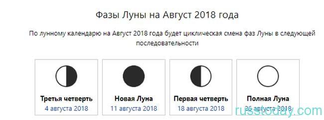 новолуние в августе 2018 года в России