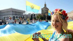 Флаг Украины на площади