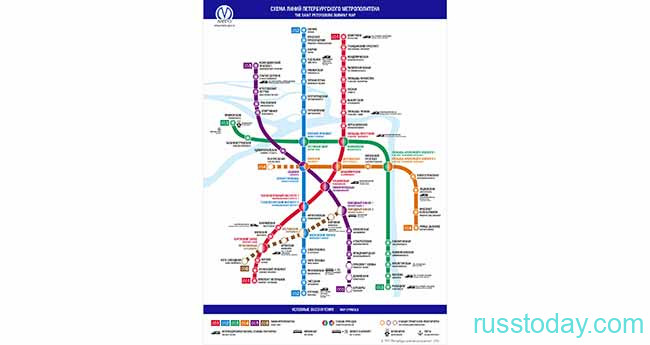 Схема Питерского метрополитена
