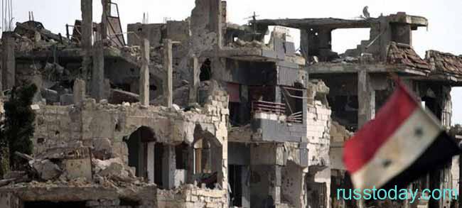 Дом после бомбежки в Сирии