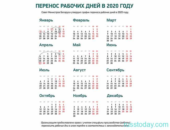 Перенос рабочих дней в январе в Беларуси