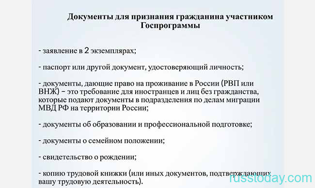 Документы на гражданство РФ по программе переселения